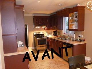 restauration armoires de cuisine en ch ne repeinte couleur. Black Bedroom Furniture Sets. Home Design Ideas